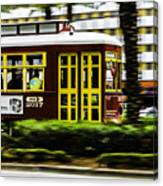 Trolley Car In Motion, New Orleans, Louisiana Canvas Print