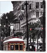 Trolley On Bourbon And Canal  Canvas Print