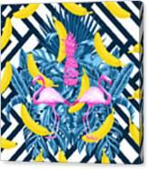 Tropical Banana Pink   Canvas Print