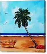 Tropical Beach Scene Canvas Print