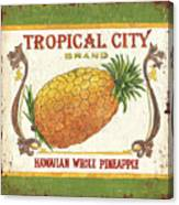 Tropical City Pineapple Canvas Print