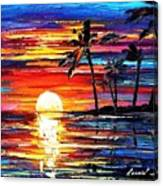 Tropical Fiesta - Palette Knife Oil Painting On Canvas By Leonid Afremov Canvas Print