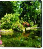 Tropical Garden By Lake Canvas Print