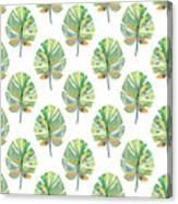 Tropical Leaves On White- Art By Linda Woods Canvas Print