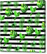 Tropical Leaves Pattern In Watercolor Style With Stripes Canvas Print