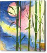 Tropical Moonlight And Bamboo Canvas Print