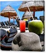 Tropical Paradise Sun, Sand, Beach And Drinks. Canvas Print
