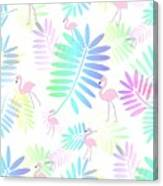 Tropical Pink Flamingos Canvas Print