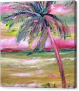 Tropical Sunset In Pink With Palm Tree Canvas Print