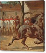 Trotting A Horse Canvas Print