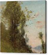 Trouillebert, Paul Desire 1829 Paris 1900 Farmer Sitting On The Edge Of The Water Canvas Print