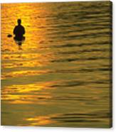 Trout Fishing At Sunset Canvas Print