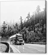 Truck On Foggy Highway Canvas Print