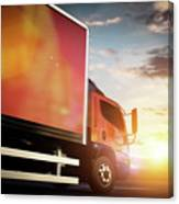 Truck Speeding On The Highway. Transportation Canvas Print