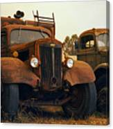 Trucks Under Smoke Canvas Print