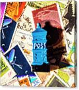 True Blue Postbox Canvas Print