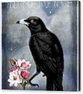 True North Crow And Magnolias Canvas Print
