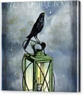 True North Crow Sits On The Night Lantern Canvas Print