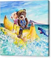 Truffle Mcfurry And Mary The Scottish Sheep Riding The Banana Canvas Print