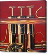 Trumpet In Red Canvas Print
