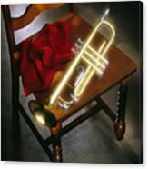 Trumpet On Chair Canvas Print