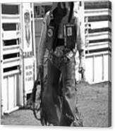 Try Again Cowboy Black And White Canvas Print