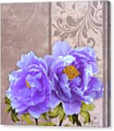 Tryst, Lavender Blue Peonies Still Life Flowers Canvas Print