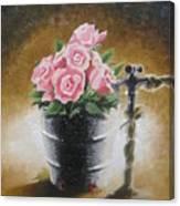 Tub Of Roses Canvas Print