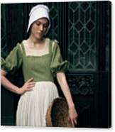 Tudor Woman Outside A Timber Building  Canvas Print