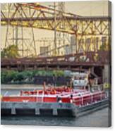 Tug Derek E And Barge On The Calumet River Canvas Print