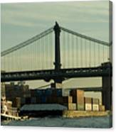 Tugboat Pulling A Barge On The East Canvas Print