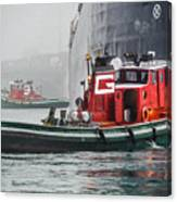 Tugs Maneuvering Ship In The Fog Canvas Print