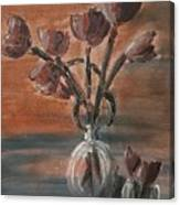 Tulip Flowers Bouquet In Two Round Water Filled Small Globe Shaped Vases On A Table Still Life Of Bo Canvas Print