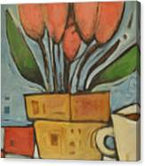 Tulips And Coffee Canvas Print