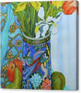 Tulips And Iris In A Japanese Vase, With Fruit And Textiles Canvas Print