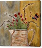 Tulips And The Lovely Bee Canvas Print