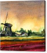 Tulips And Windmill From The Netherlands Canvas Print