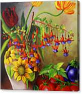 Tulips In A Vase With Some Tomatoes Canvas Print