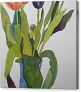 Tulips In Blue Vase Canvas Print