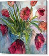 Tulips In Rosie's Vase Canvas Print