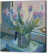 Tulips On A Window  Canvas Print