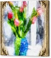 Tulips On A Half Shelf Canvas Print