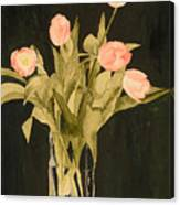Tulips On Velvet Canvas Print