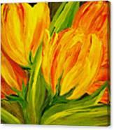 Tulips Parrot Yellow Orange Canvas Print