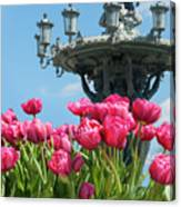 Tulips With Bartholdi Fountain Canvas Print