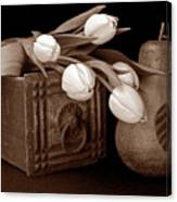 Tulips With Pear I Canvas Print
