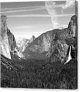 Tunnel View Yosemite B And W Canvas Print