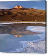 Tunupa Volcano Reflected In Salar De Uyuni At Twilight Bolivia Canvas Print