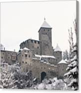 Tures Castle In The Snow Canvas Print