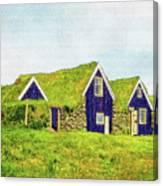 Turf Huts In Skaftafell Canvas Print